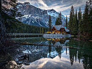 Фотография Канада Парки Озеро Дома Гора Ель Emerald Lake Yoho National Park Природа
