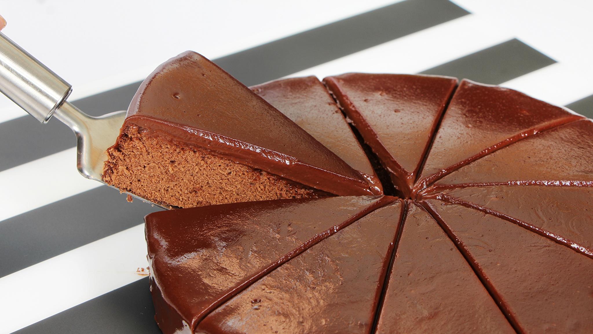 Фотографии Шоколад Торты часть Еда 2048x1152 Кусок Пища Продукты питания