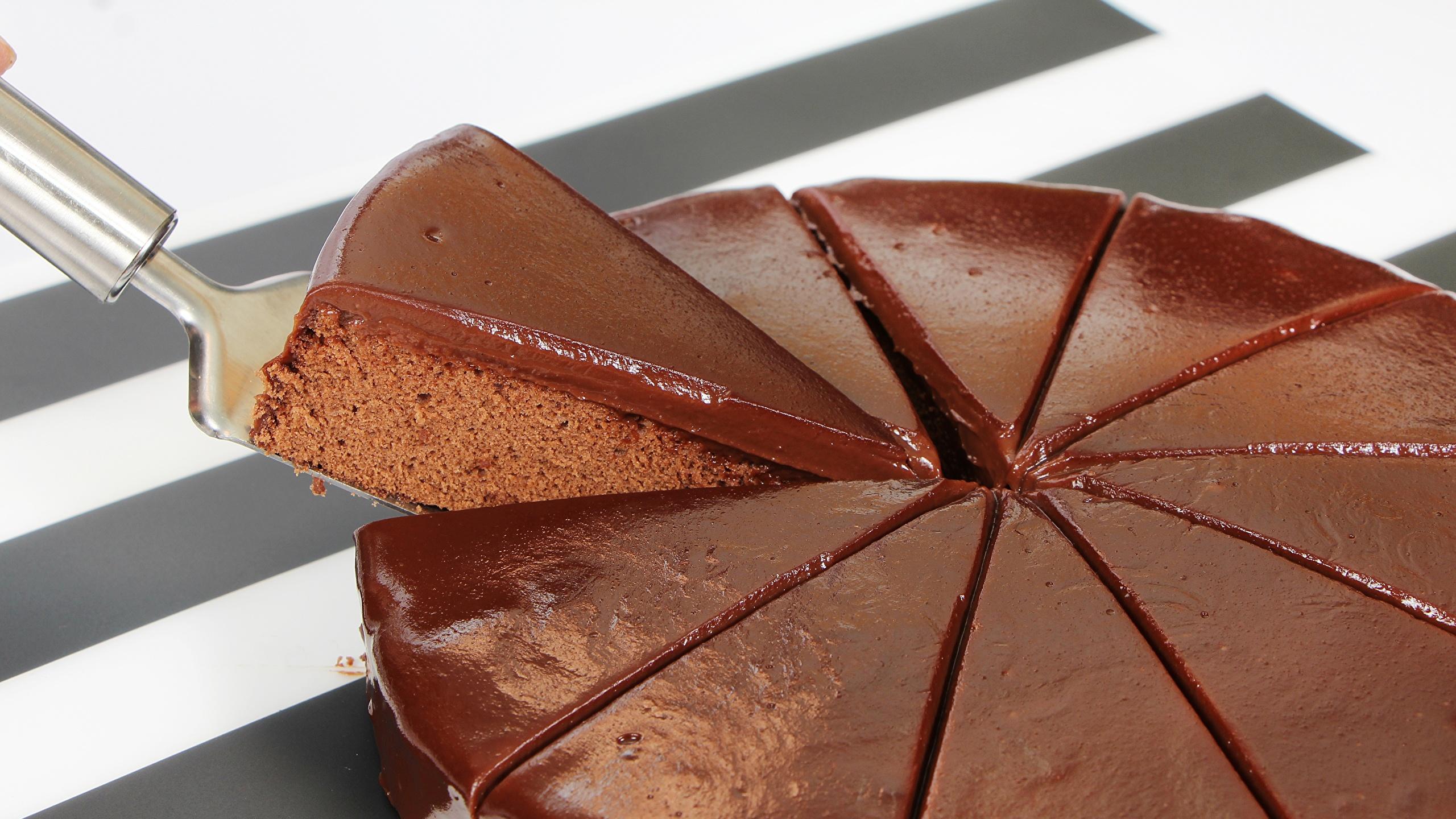 Фотографии Шоколад Торты часть Еда 2560x1440 Кусок Пища Продукты питания
