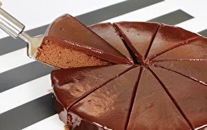 Фотографии Торты Шоколад Часть Пища