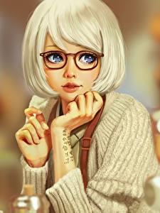 Картинка Рисованные Блондинка Очки Красивые The Memorandum of Kyoko Okitegami Кино Девушки