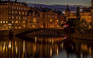 Фотография Швеция Стокгольм Здания Реки Мосты Уличные фонари Ночь город
