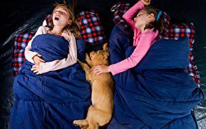 Фотографии Собака Девочка Спящий Дети