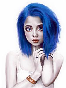 Картинка Рисованные Синий Волосы Девушки