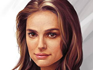 Обои для рабочего стола Natalie Portman Рисованные Шатенка Волосы Знаменитости Девушки