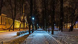 Обои Россия Санкт-Петербург Зима Парки Здания Снег Ночные Деревья Alexander Garden Природа