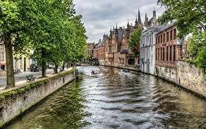 Картинки Бельгия Здания Водный канал Деревья HDRI Bruges