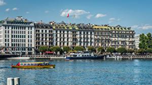Картинка Швейцария Здания Озеро Пирсы Речные суда Гостиница Geneva город