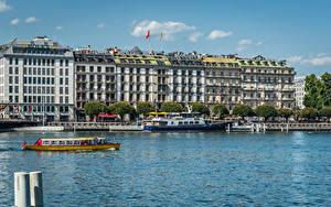 Картинка Швейцария Дома Озеро Пирсы Речные суда Гостиницы Geneva Города
