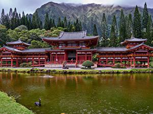 Фотографии Храм Гора Реки Гавайи Oahu Byodo-In Temple город