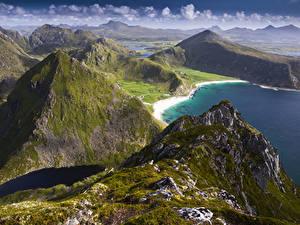 Обои Норвегия Лофотенские острова Берег Горы Vagen Природа