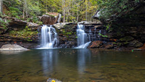 Картинка Осенние Камень Водопады Утес Природа