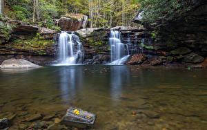 Картинка Осенние Камень Водопады Утес