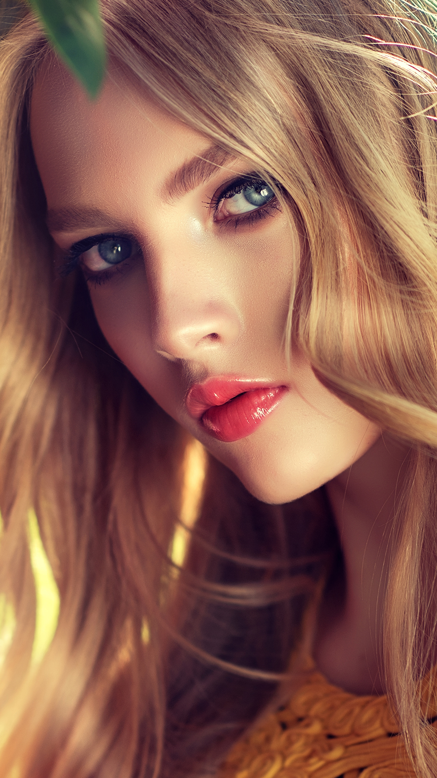 Фото Русые Блондинка Красивые Лицо Девушки смотрит 1440x2560 Взгляд