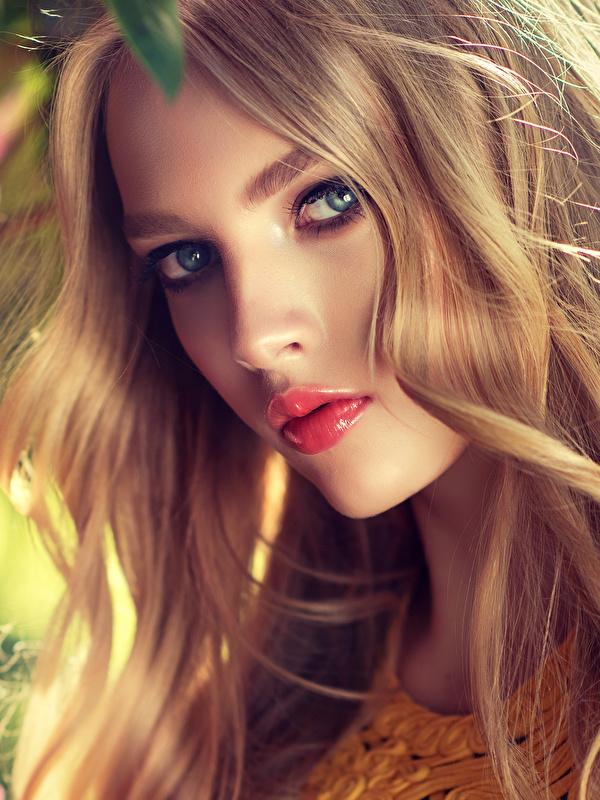 Фото Русые Блондинка Красивые Лицо Девушки смотрит 600x800 Взгляд