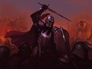 Картинки Воин Щит С мечом Шлем Доспехах Фэнтези