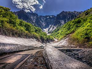Фотографии Япония Горы Леса Дороги Tanigawa