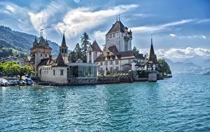 Фото Швейцария Замок Озеро Oberhofen Castle, lake Thun, city Tun город