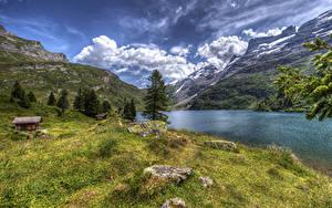 Картинки Швейцария Гора Озеро Дома Камни Пейзаж HDR Трава Engstlensee Природа