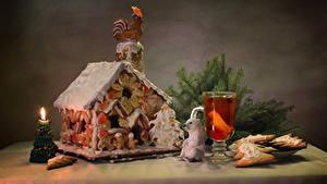 Фотография Рождество Праздники Натюрморт Выпечка Дома Свечи Печенье Напитки Дизайн Стакан Пища