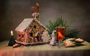 Фотография Рождество Праздники Натюрморт Выпечка Здания Свечи Печенье Напитки Дизайн Стакан Пища
