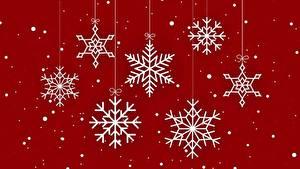 Фото Новый год Красный фон Снежинки