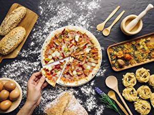 Фотография Пицца Мука Часть Продукты питания