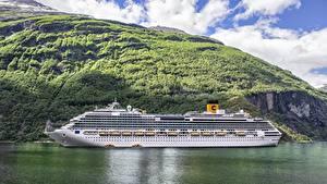 Фотографии Круизный лайнер Корабли Море Горы Норвегия Costa Favolosa, Fjord Природа