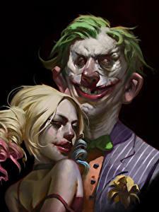 Картинки Герои комиксов Джокер Харли Квинн герой Двое Черный фон Улыбается Блондинок Фэнтези
