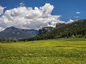 Фото США Пейзаж Горы Леса Здания Луга Облако Colorado Природа