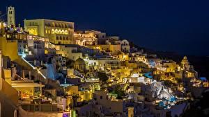 Фотография Тира Здания Греция Ночь