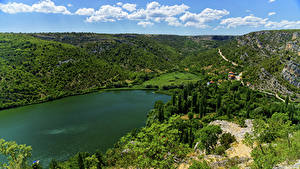 Картинки Хорватия Парки Озеро Холмы Krka National Park