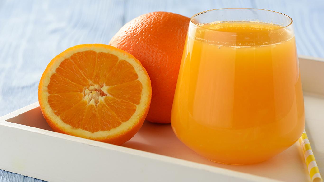 Фото Сок Апельсин стакане Пища 1366x768 Стакан стакана Еда Продукты питания