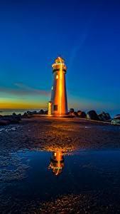 Картинка Маяки Рассвет и закат Штаты Залив Калифорнии Monterey Bay, Walton Lighthouse, Santa Cruz Harbor Природа