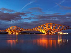 Картинка Шотландия Мосты Небо Ночь Залив Forth Rail Bridge Природа