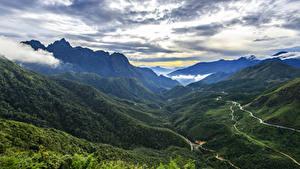 Фото Вьетнам Горы Дороги Небо Облака Sapa Природа
