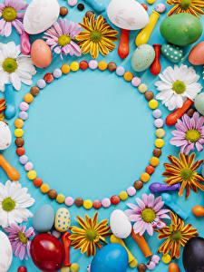Обои Пасха Тюльпаны Хризантемы Конфеты Яйца Цветы