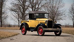 Обои Ford Винтаж Желтая 1931 Model A Roadster Pickup
