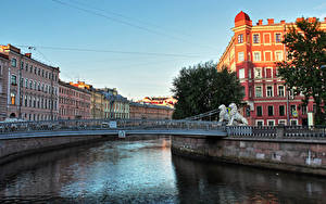 Картинка Россия Санкт-Петербург Дома Речка Мосты Львы Скульптуры Города
