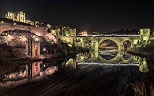 Фотографии Испания Толедо Крепость Речка Мосты Ночные Города
