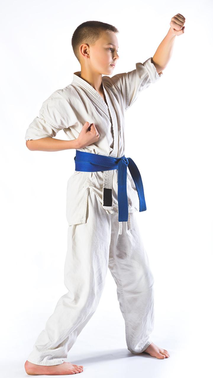Картинка Мальчики Физические упражнения karate Ребёнок Униформа Белый фон 720x1280 Тренировка Дети
