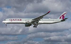 Картинка Эйрбас Самолеты Пассажирские Самолеты Сбоку Qatar Airways, A350-1000