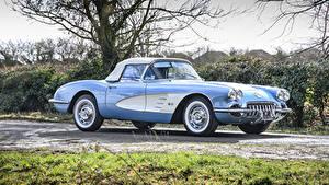 Фотографии Шевроле Ретро Голубая Металлик 1960 Corvette 283-270 HP Авто