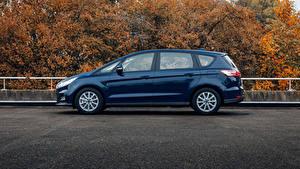 Картинки Ford Синий Металлик Сбоку Универсал S-MAX, 2019 Автомобили