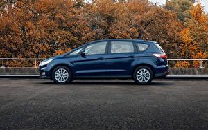 Картинки Ford Синий Металлик Сбоку Универсал S-MAX, 2019