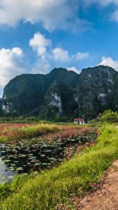 Картинки Вьетнам Гора Дороги Озеро Пейзаж Утес