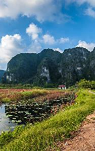 Картинки Вьетнам Горы Дороги Озеро Пейзаж Утес