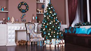 Картинки Рождество Праздники Интерьер Елка Стул Дизайн Шарики