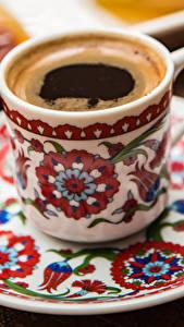 Картинки Кофе Чашка Тарелка Продукты питания