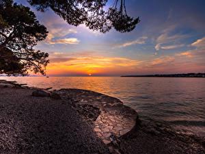 Фотографии Хорватия Побережье Рассвет и закат Залива